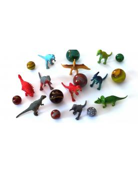 55 Glass Marbles and Dinosaurs - SOLIDAIRE