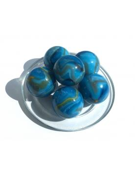1 Large Marble Blue-Lagon 35 mm Glass Marbles - MyMarbles