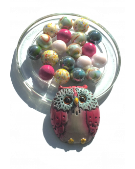 1 Pack Hibou-Rose Glass Marbles