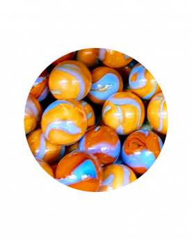 1 Little Marble Orange-Turquoise 14 mm Glass Marbles