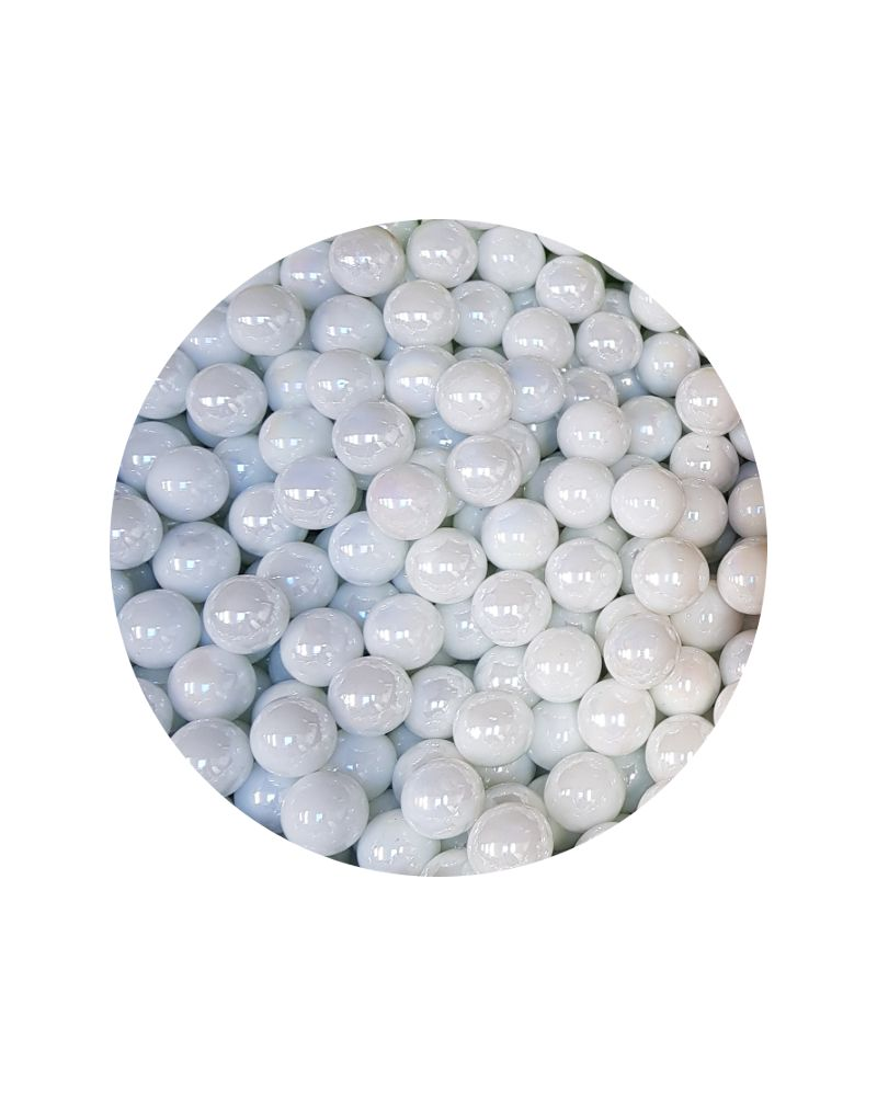 1 Small White Glossy Marble - 14mm Glass Marble