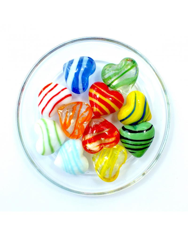 MyGlassMarbles - 15 Flat marbles Heart Mix Striped colors - Glass Marble 16 mm by My GlassMarble