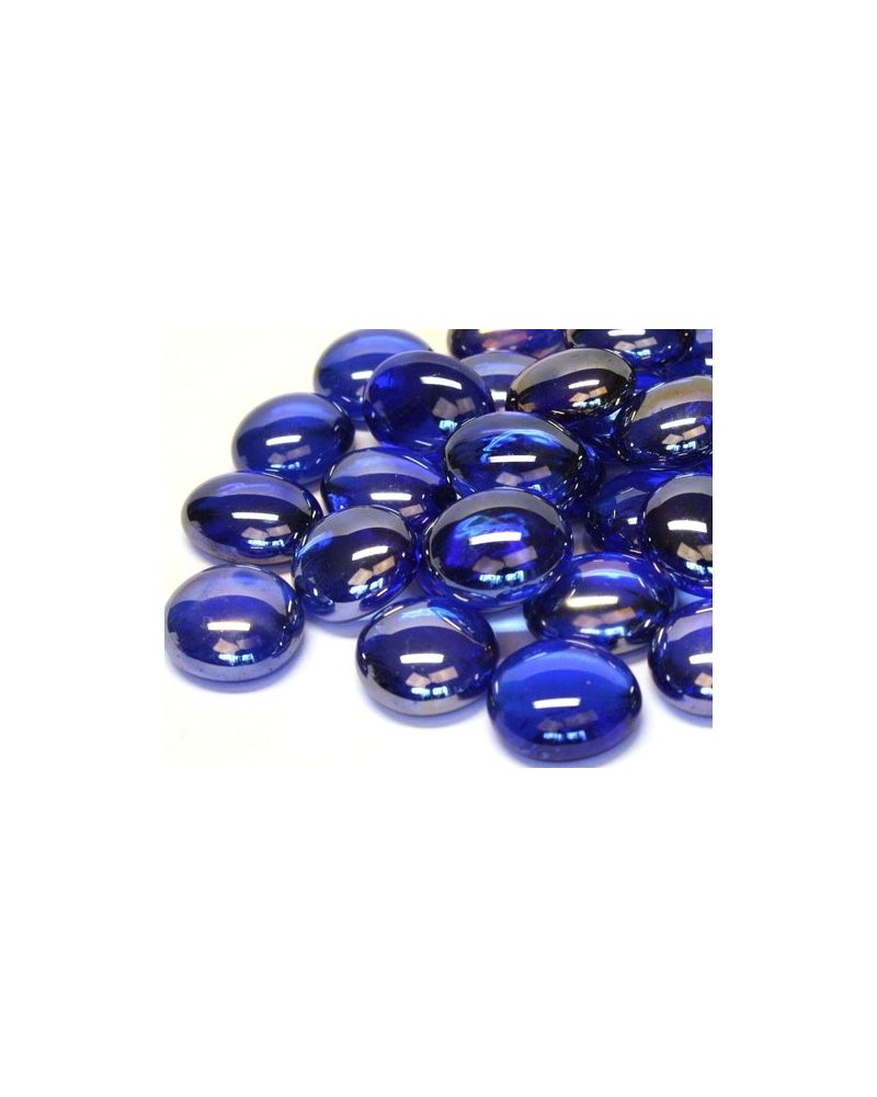 MyGlassMarbles - 20 Flat Marbles Night Blue - Glass Marble 16 mm by My GlassMarble