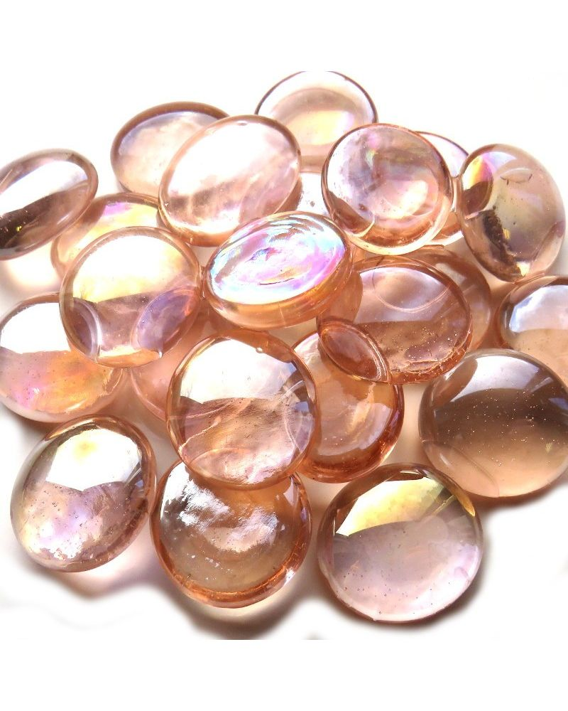 MyGlassMarbles - 20 Peach flat Marbles - Glass shaped Marble 16 mm by My GlassMarble