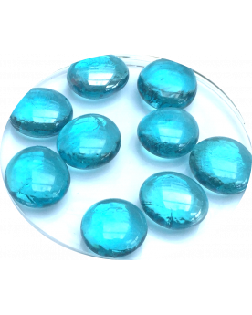 MyGlassMarbles - 20 Flat Marbles Light Blue - Glass Marble 16 mm by My GlassMarble