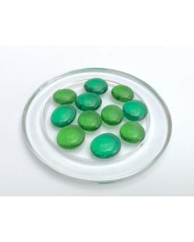MyGlassMarbles - 20 Flat Marbles Green Magnifier - Glass Marble 16 mm by My GlassMarble