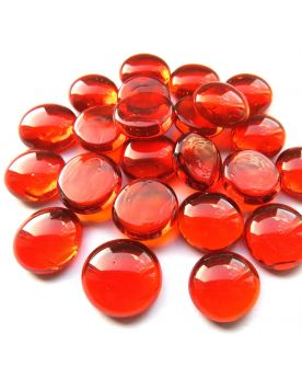 MyGlassMarbles - 20 Flat Marbles Red Magnifier - Glass Marble 16 mm by My GlassMarble