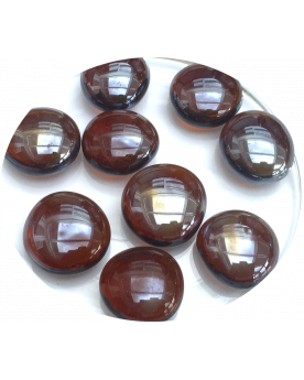 MyGlassMarbles - 20 Flat Marbles Amber - Glass shaped Marble 16 mm by My GlassMarble