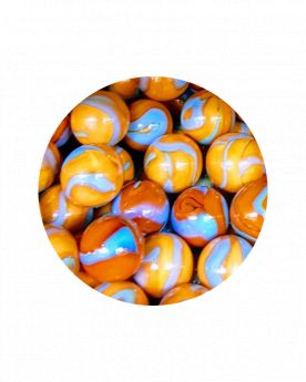 MyGlassMarbles - 25 Marbles Orange Turquoise - Glass Marble 16 mm by My GlassMarble