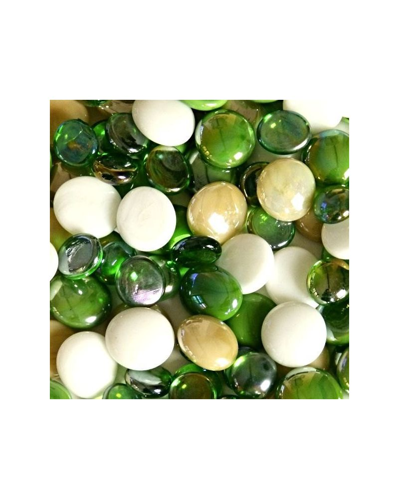 MyGlassMarbles - 20 Flat Marbles Green Mix - Glass Marble 16 mm by My GlassMarble