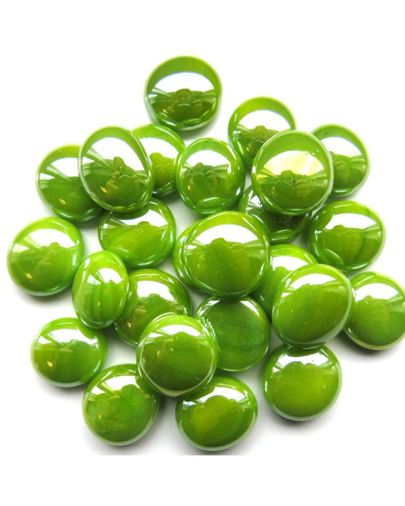 MyGlassMarbles - 20 Flat Marbles Glossy Green - Glass shaped Marble 16 mm by My GlassMarble