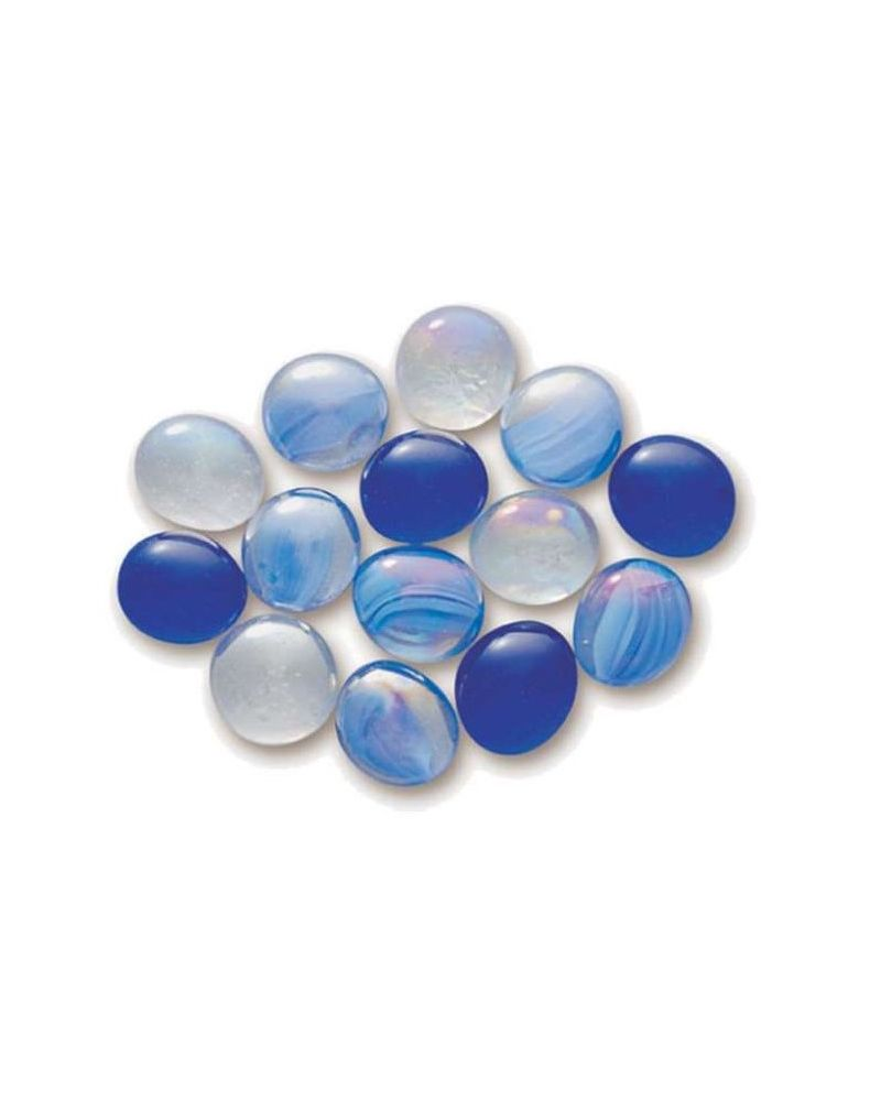 MyGlassMarbles - 20 Flat Marbles Mix Blue - Glass Marble 16 mm by My GlassMarble