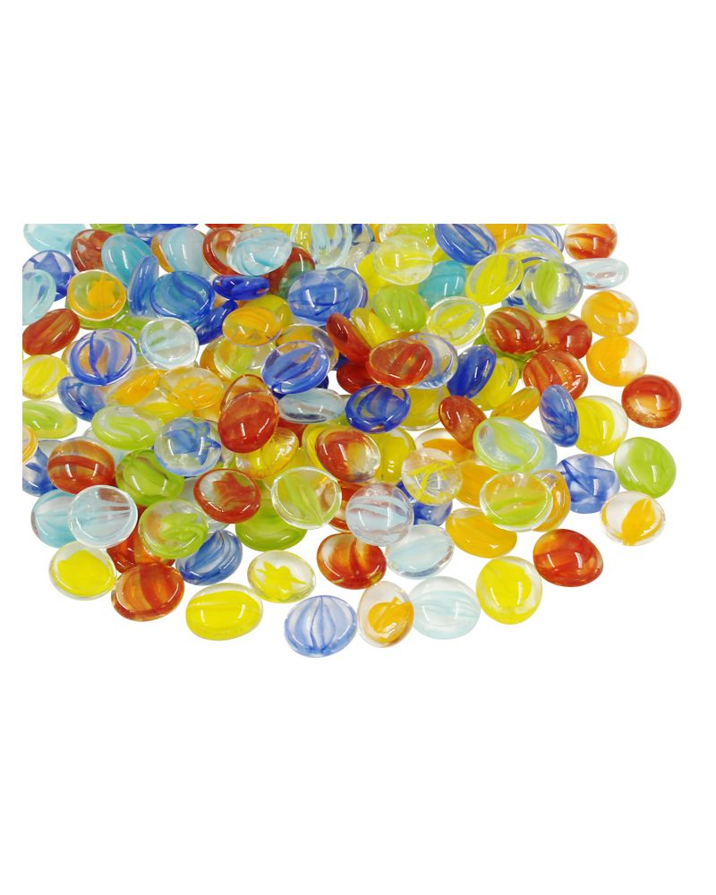 MyGlassMarbles - 20 Flat Marbles Tornado Mix - Glass Marble 16 mm by My GlassMarble
