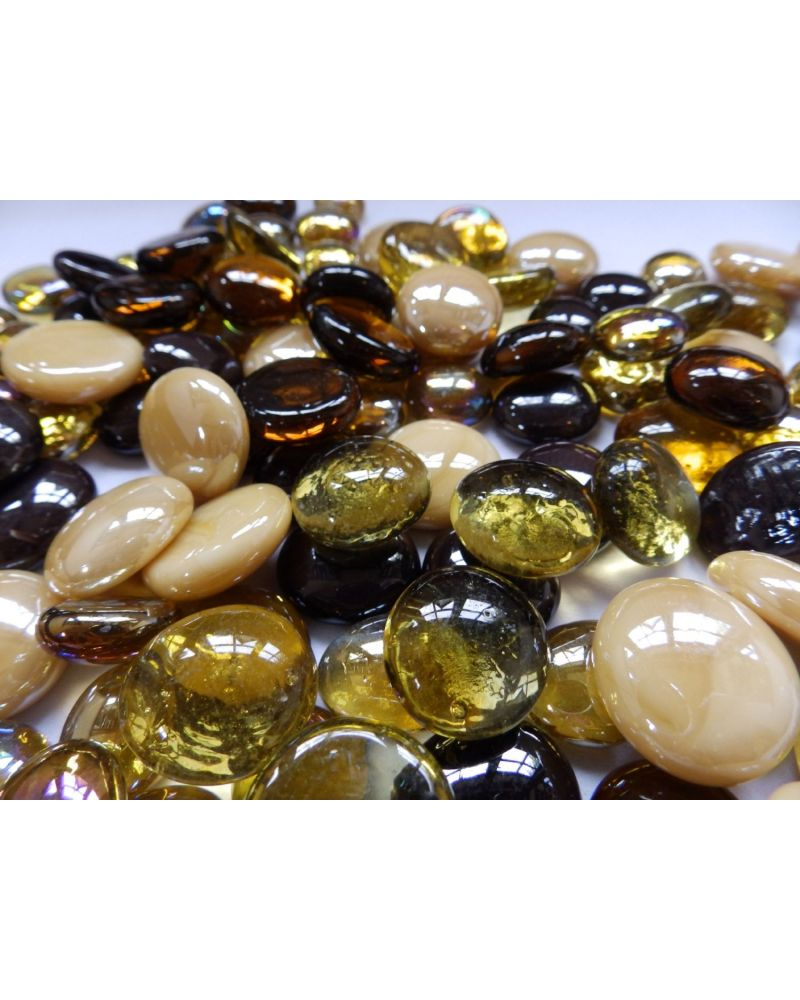 MyGlassMarbles - 20 Flat Marbles Gold Mix - Glass Marble 16 mm by My GlassMarble