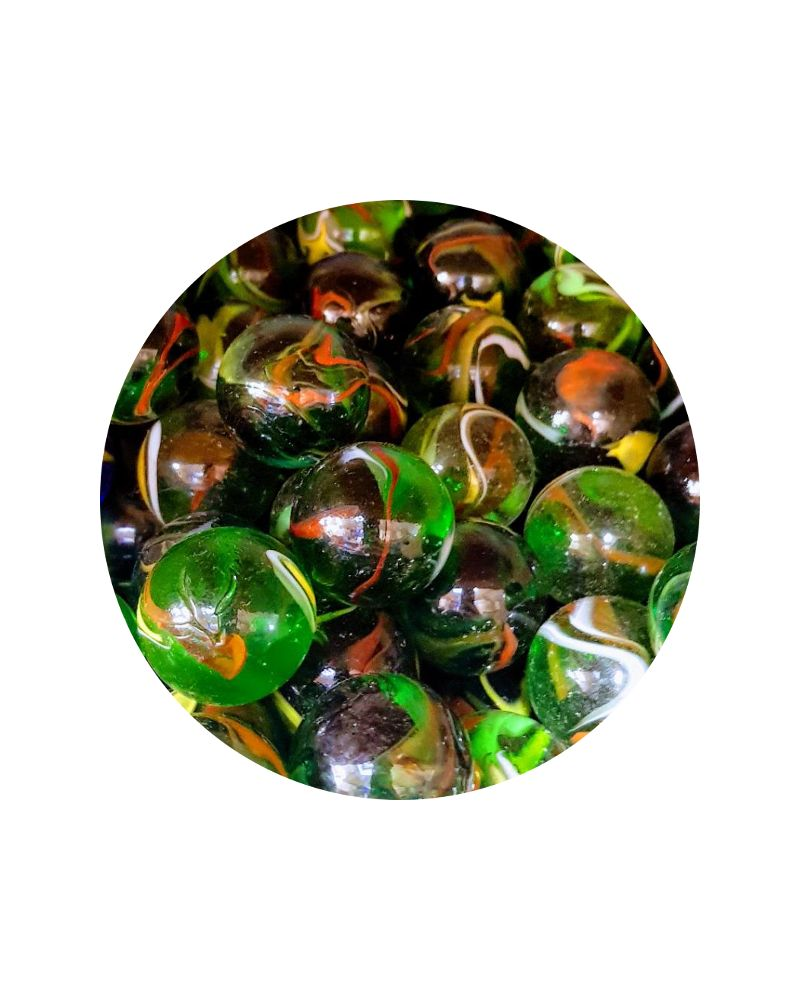 MyGlassMarbles - 4 Big Marble Green Woodpecker - Glass Marbles 25 mm by My GlassMarble
