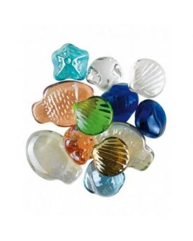 MyGlassMarbles - 15 Flat Sea Marbles - Glass Marble 20 mm by My GlassMarble