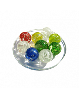 MyGlassMarbles - 4 Big Marble Wrinkled Tornado - Glass Marbles 25 mm by My GlassMarble