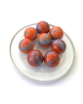 MyGlassMarbles - 4 Big Marble Orange Turquoise - Glass Marbles 25 mm by My GlassMarble