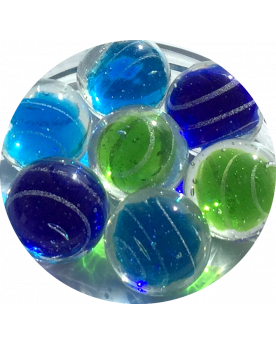 MyGlassMarbles - 2 Marbles Celestial Colors - Glass Marble 20 mm by My GlassMarble
