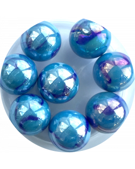MyGlassMarbles - 4 Big Marble Chinese blue - Glass Marbles 25 mm by My GlassMarble