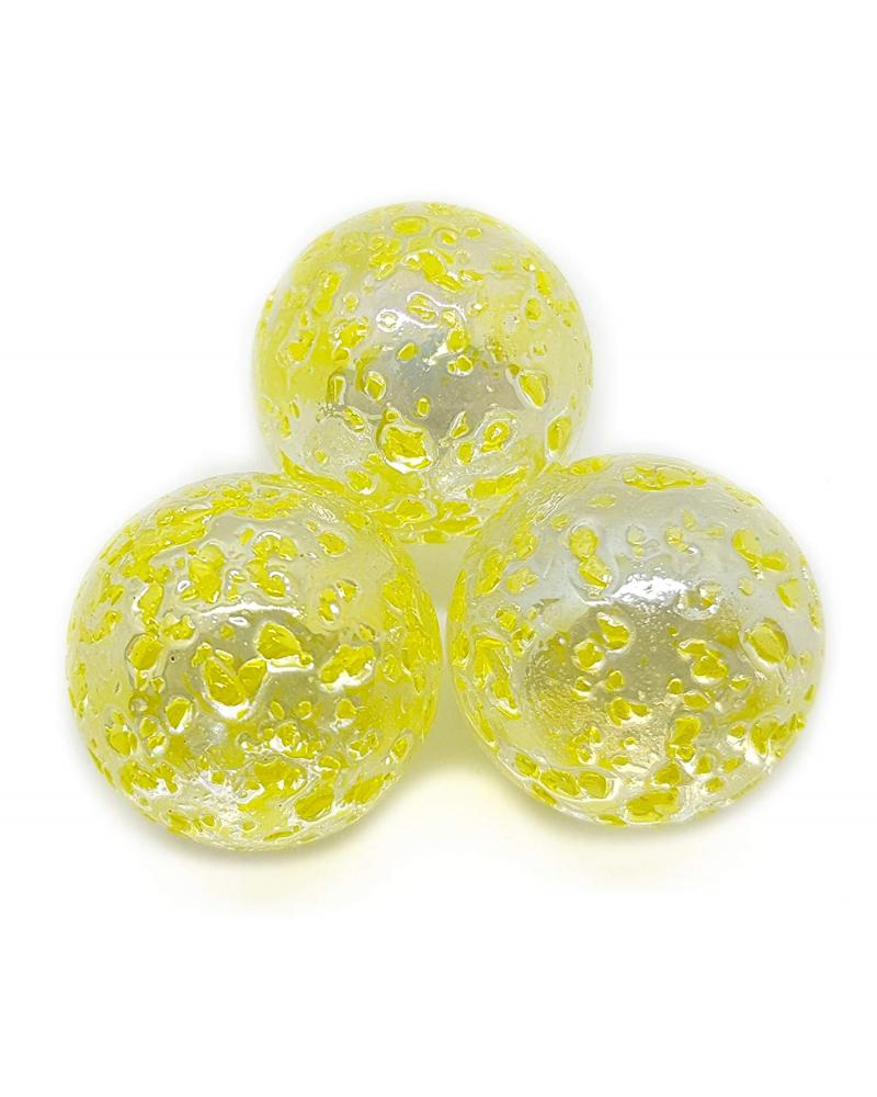 MyGlassMarbles - 4 Big Marble Yellow Nugget - Glass Marbles 25 mm by My GlassMarble