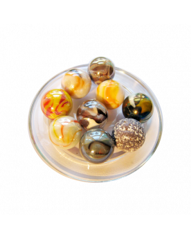 MyGlassMarbles - 9 Summer Shooters Marbles - Glass Marble 25 mm by My GlassMarble