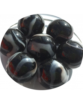 MyGlassMarbles - 4 Big Marble Coal - Glass Marbles 25 mm by My GlassMarble