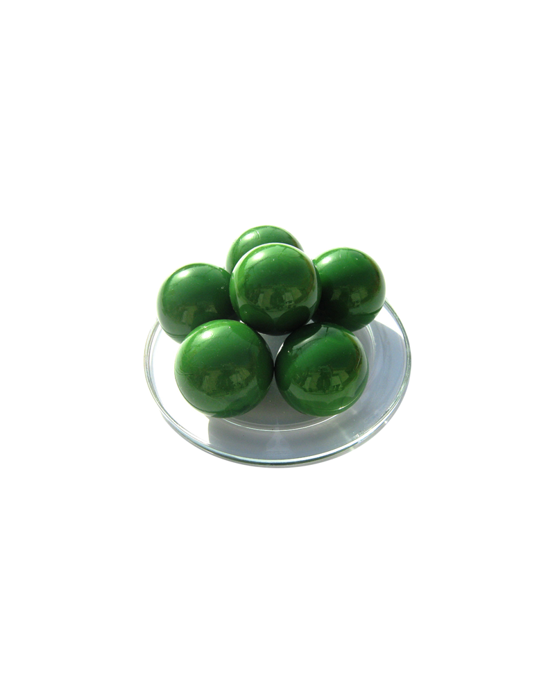 MyGlassMarbles - 2 Big Marbles Green Pearl - Glass Marble 35 mm by My GlassMarble