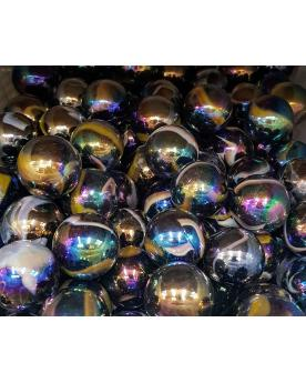 MyGlassMarbles - 2 Very Large Marbles Petroleum - Glass Marble 43 mm by My GlassMarble