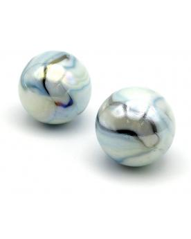 MyGlassMarbles - 2 Very Large Marbles White Tiger - Glass Marble 43 mm by My GlassMarble