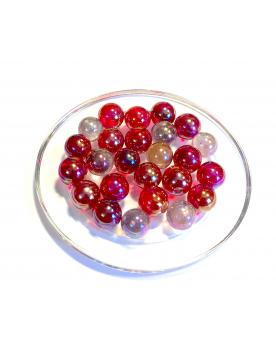 MyGlassMarbles - 30 Marbles Iridescent Red 14 mm GlassMarble by My GlassMarble