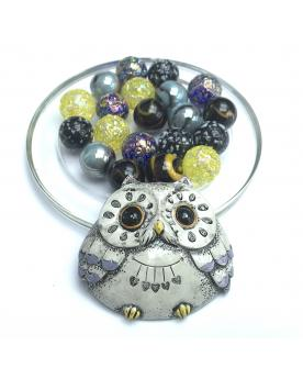 MyGlassMarbles - 1 Grey Owl Lucky Owl and its 20 Glass Marbles in different sizes by My GlassMarble