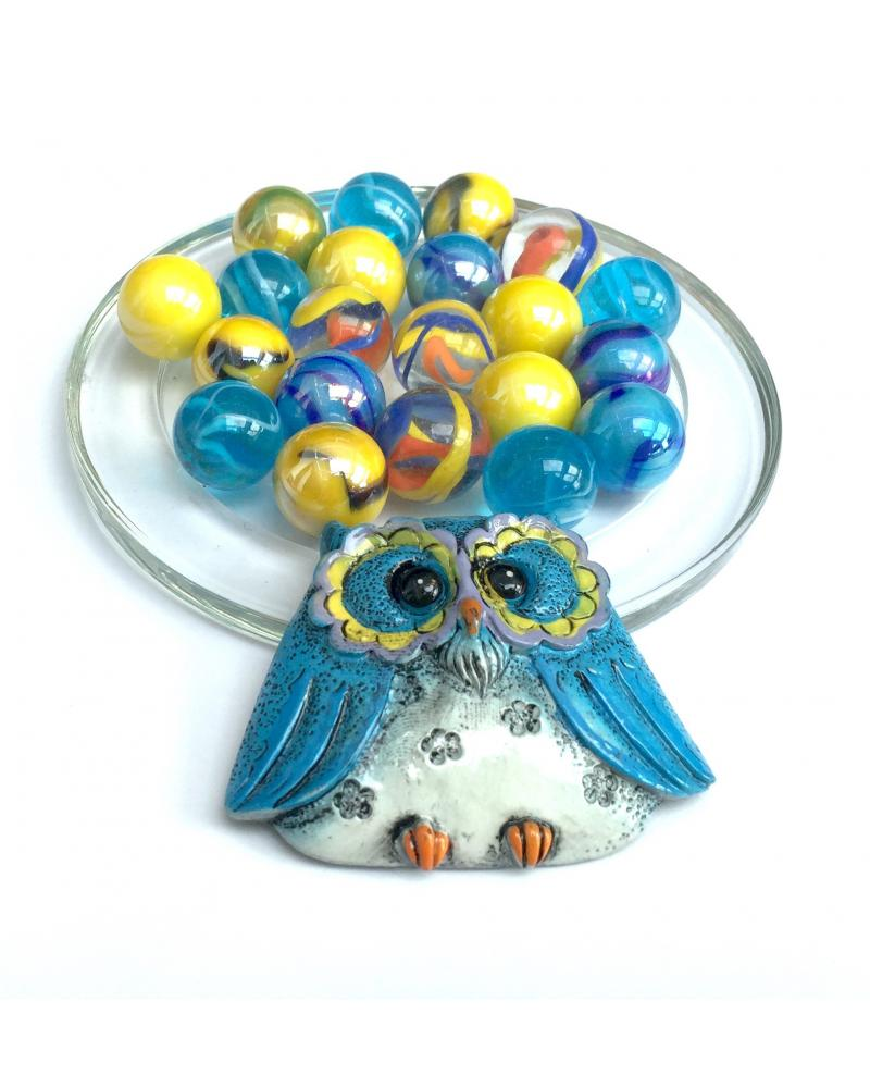 MyGlassMarbles - 1 Blue Owl Lucky Owl and its 20 Glass Marbles in different sizes by My GlassMarble