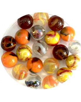 MyGlassMarbles - 1 Orange Owl Lucky Owl and its 20 Glass Marbles in different sizes by My GlassMarble