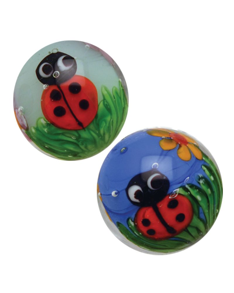 MyGlassMarbles - 4 glass art marbles Ladybug- 16 mm glass marble by My GlassMarble