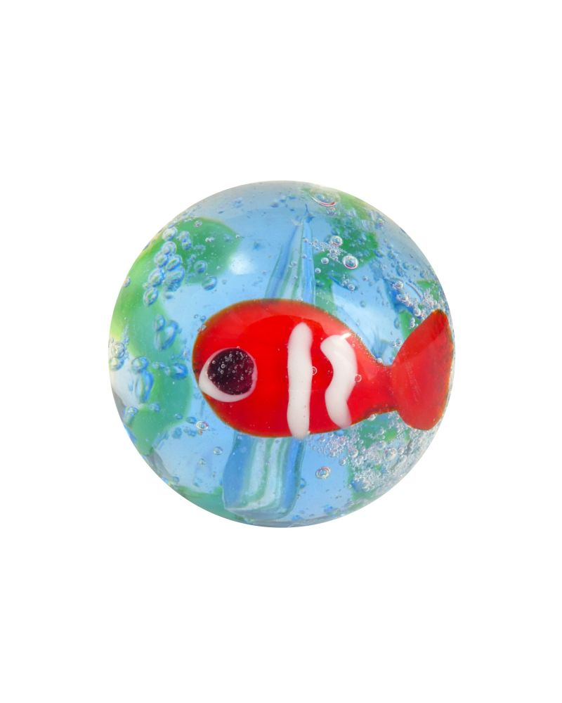 1 Red Fish Glass Art Marble 16 mm