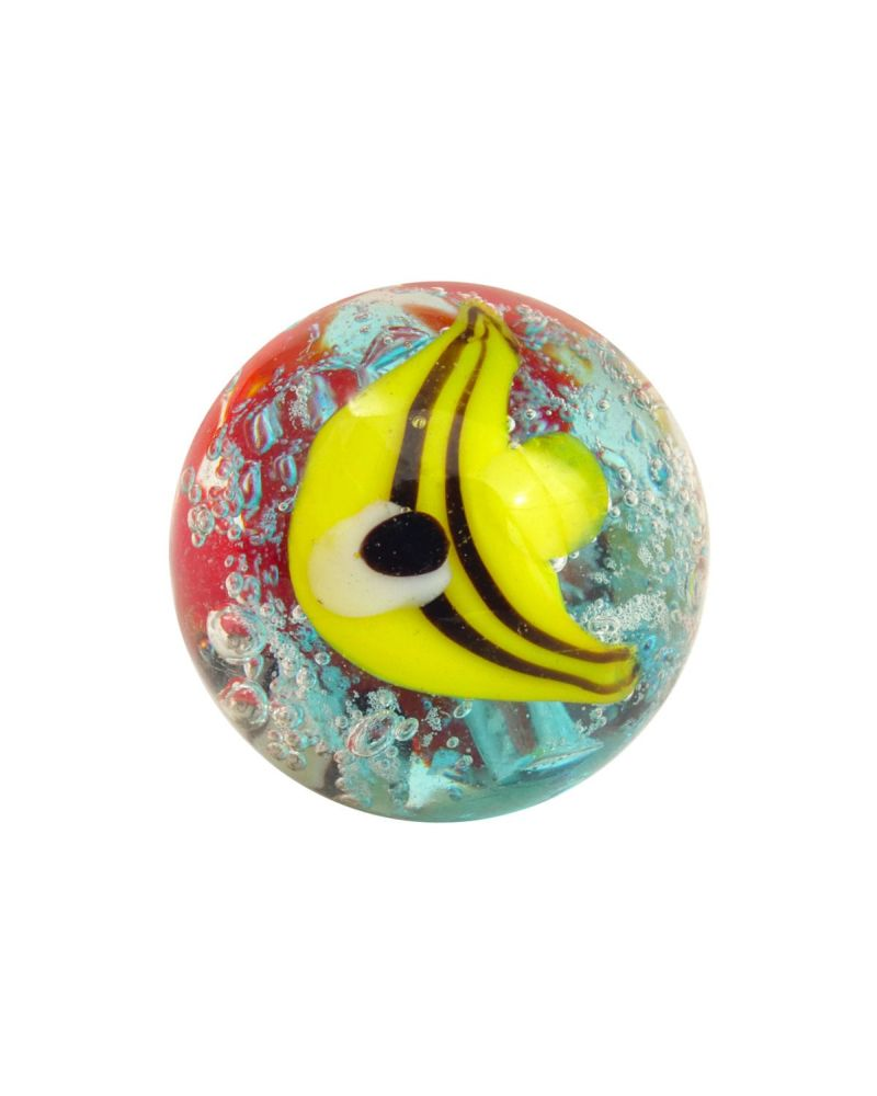 1 glass art marble Yellow Fish - 16 mm glass marble
