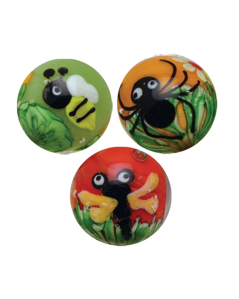 MyGlassMarbles - 3 glass art marbles Seasonal - 16 mm glass marble by My GlassMarble