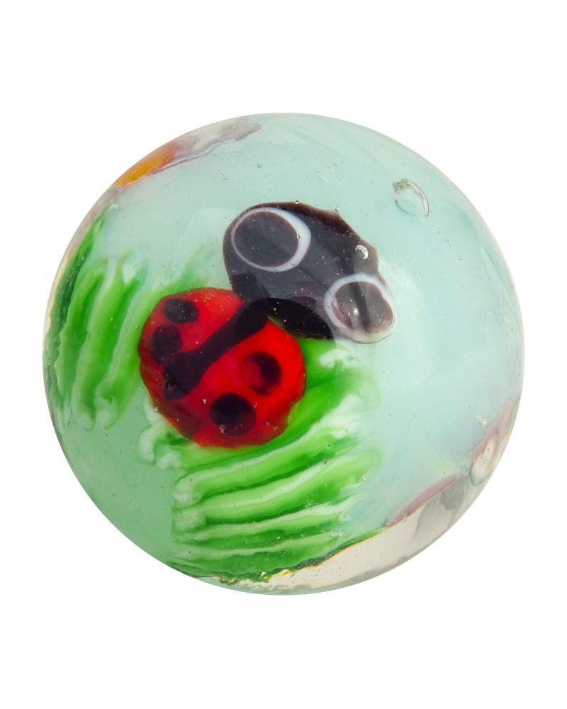 MyGlassMarbles - 2 glass art marbles Ladybug - 20 mm glass marble by My GlassMarble
