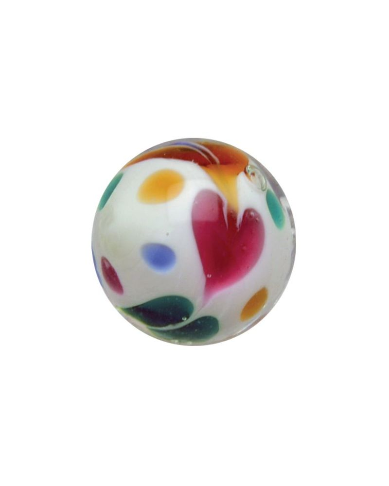 1 glass art marble Ice Scream - 20 mm glass marble