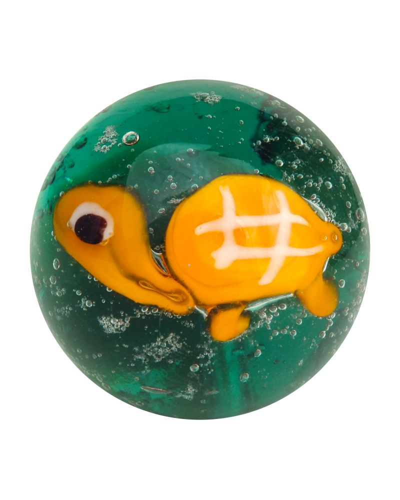 1 glass art marble Turtle - 20 mm glass marble