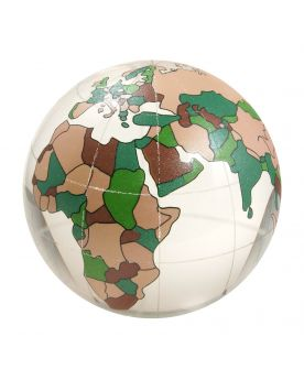 MyMarbles - 1 Marble WorldMap Cristal 60 mm Glass Marbles by My GlassMarble