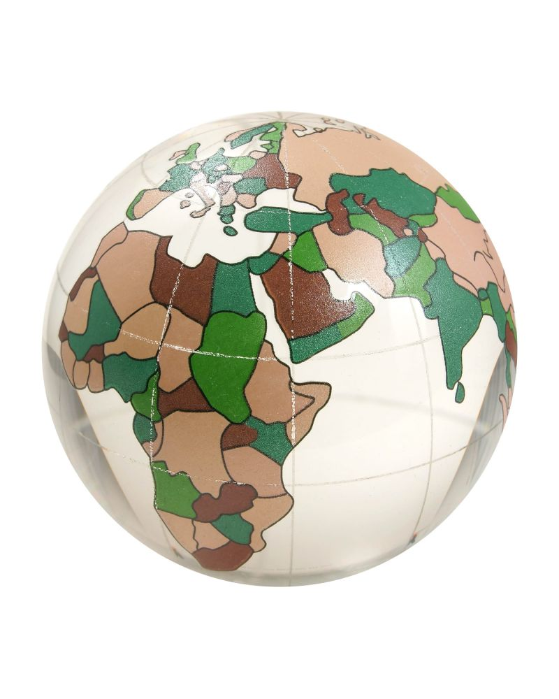 MyGlassMarbles - 1 Marble WorldMap Cristal 60 mm Glass Marbles by My GlassMarble
