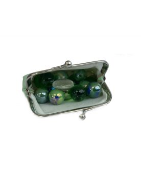 MyGlassMarbles - 20 Marbles Green Panda and Wallet - Marble and Flat Marble by My Glass Marbles