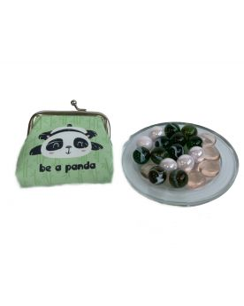 MyGlassMarbles - 20 marbles Black and pink and 1 Panda wallet un Flat Marble by My Glass Marbles