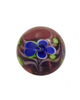 1 Purple Floral Art Marble Glass Marble 16 mm