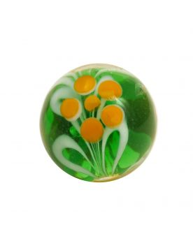1 Green Floral Art Marble Glass Marble 16 mm