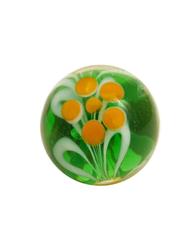 1 marble Green Flower - Marble 16 mm by My Glass Marbles