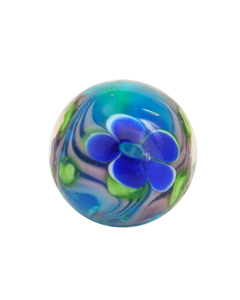 1 Blue Floral Art Glass Marble 16 mm