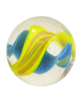 1 Yellow Tornado Marbles - 16 mm glass art marble
